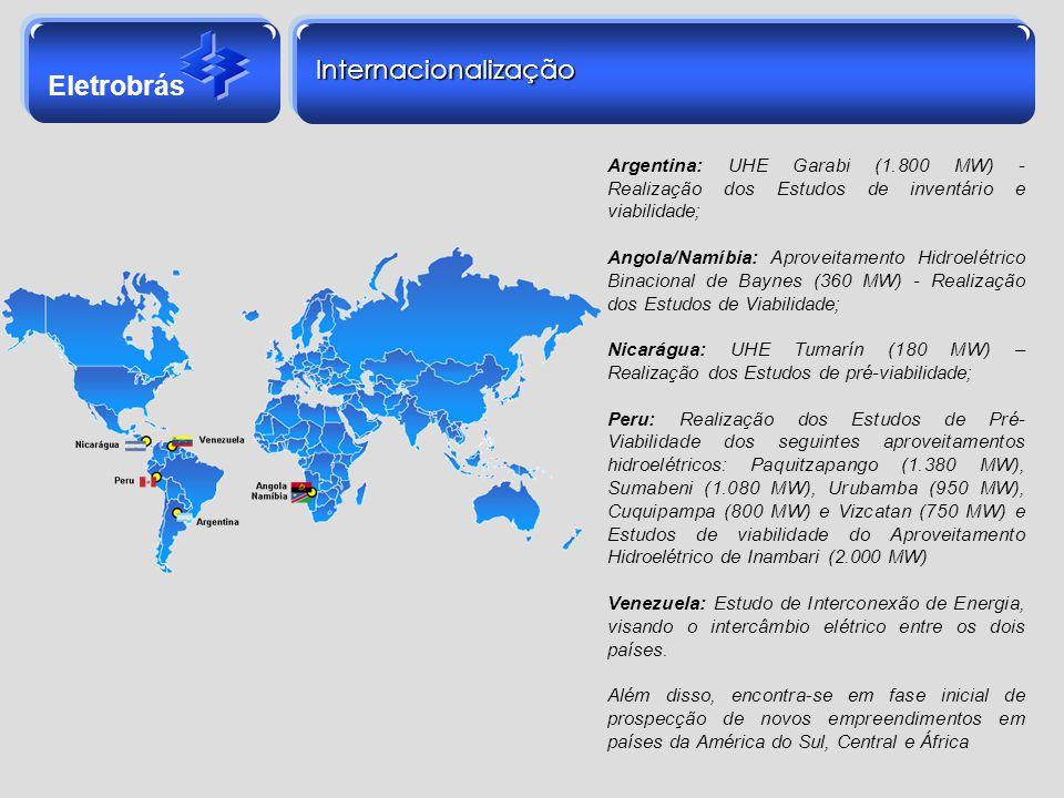Eletrobrás Internacionalização Argentina: UHE Garabi (1.800 MW) - Realização dos Estudos de inventário e viabilidade; Angola/Namíbia: Aproveitamento H