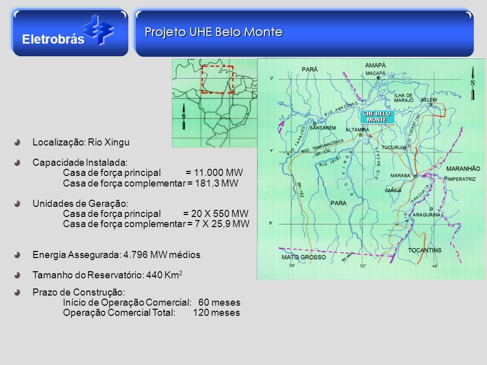 Eletrobrás Localização: Rio Xingu Capacidade Instalada: Casa de força principal = 11.000 MW Casa de força complementar = 181,3 MW Unidades de Geração: