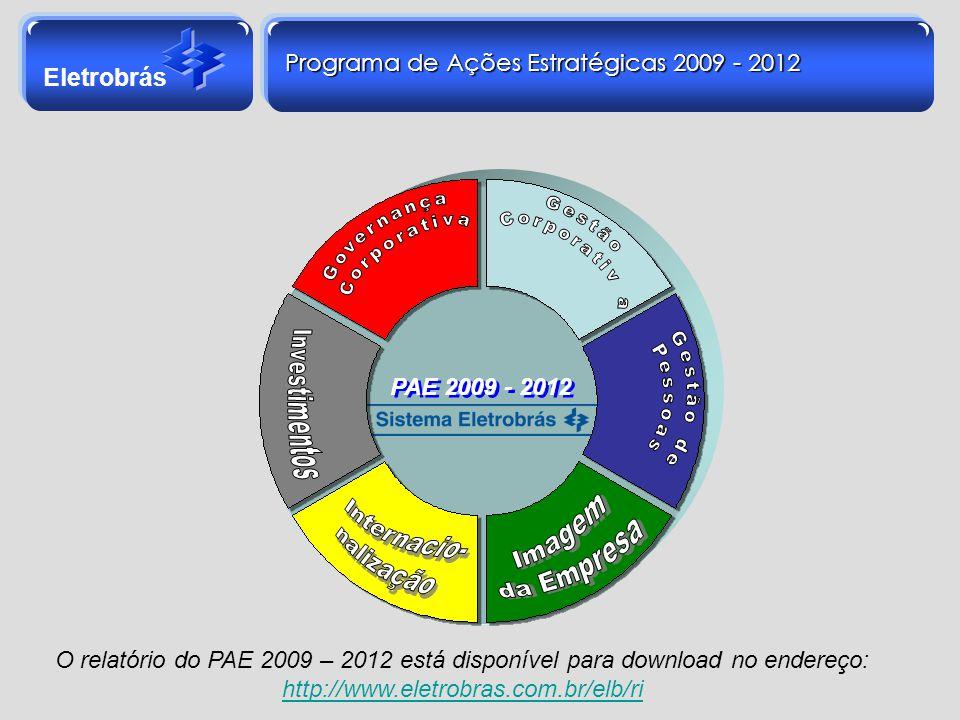 Eletrobrás Programa de Ações Estratégicas 2009 - 2012 O relatório do PAE 2009 – 2012 está disponível para download no endereço: http://www.eletrobras.