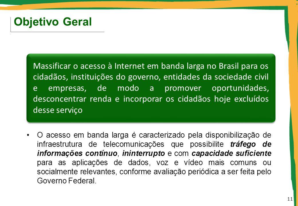 O acesso em banda larga é caracterizado pela disponibilização de infraestrutura de telecomunicações que possibilite tráfego de informações contínuo, i
