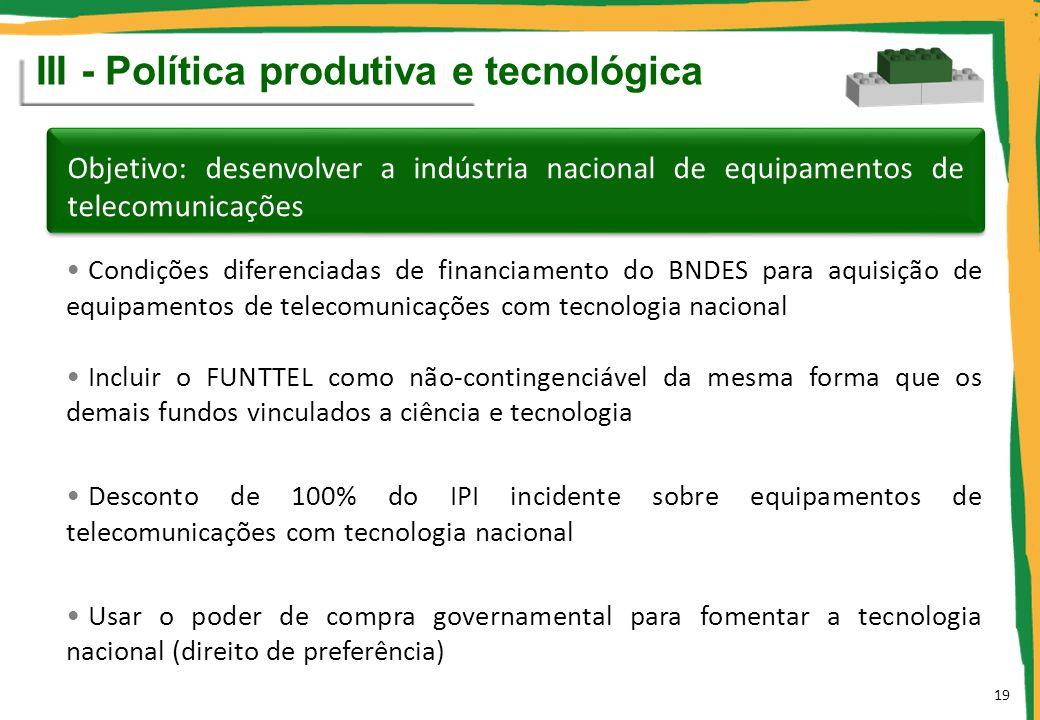 Condições diferenciadas de financiamento do BNDES para aquisição de equipamentos de telecomunicações com tecnologia nacional Incluir o FUNTTEL como nã