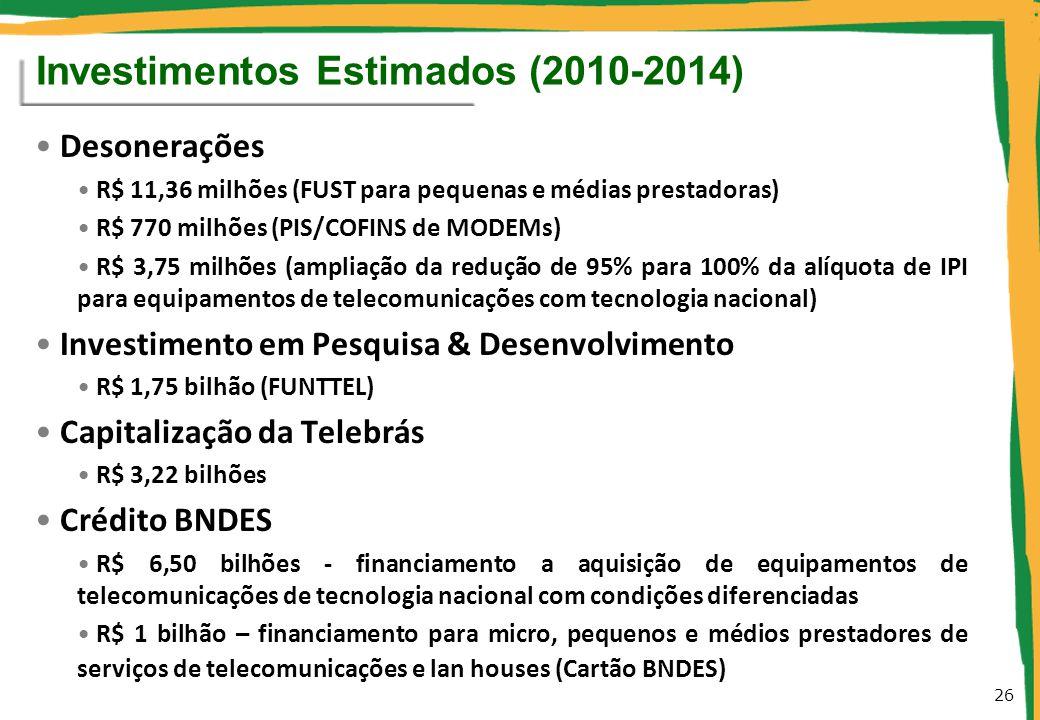 Desonerações R$ 11,36 milhões (FUST para pequenas e médias prestadoras) R$ 770 milhões (PIS/COFINS de MODEMs) R$ 3,75 milhões (ampliação da redução de
