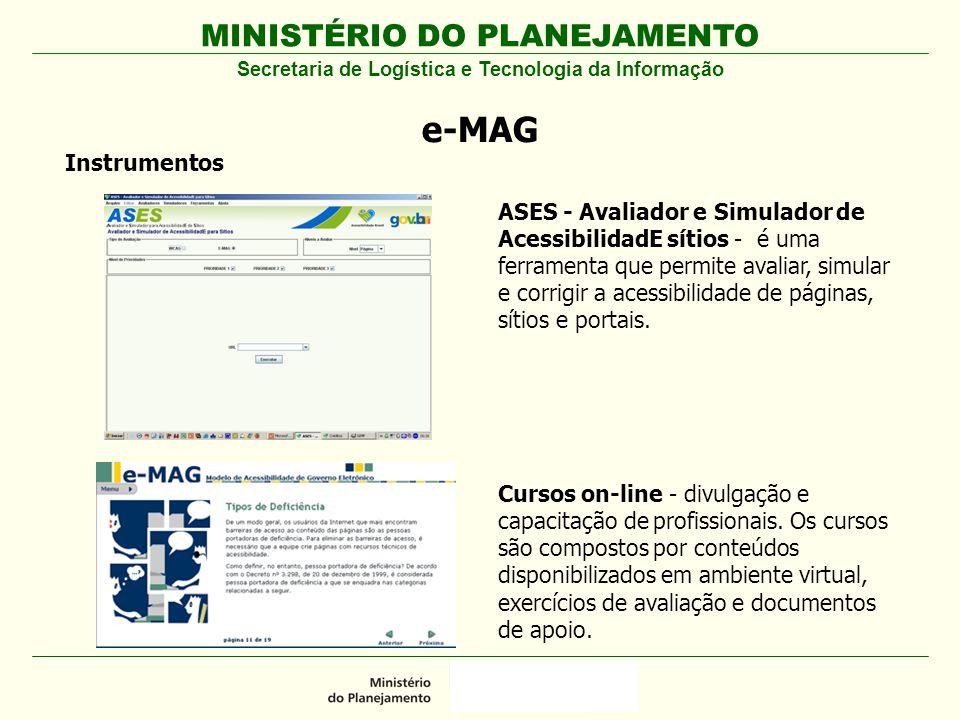 MINISTÉRIO DO PLANEJAMENTO Secretaria de Logística e Tecnologia da Informação e-MAG Instrumentos ASES - Avaliador e Simulador de AcessibilidadE sítios