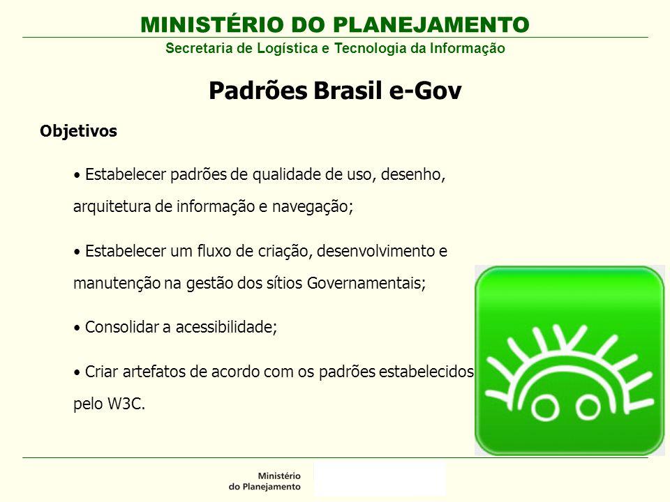 MINISTÉRIO DO PLANEJAMENTO Padrões Brasil e-Gov Secretaria de Logística e Tecnologia da Informação Objetivos Estabelecer padrões de qualidade de uso,
