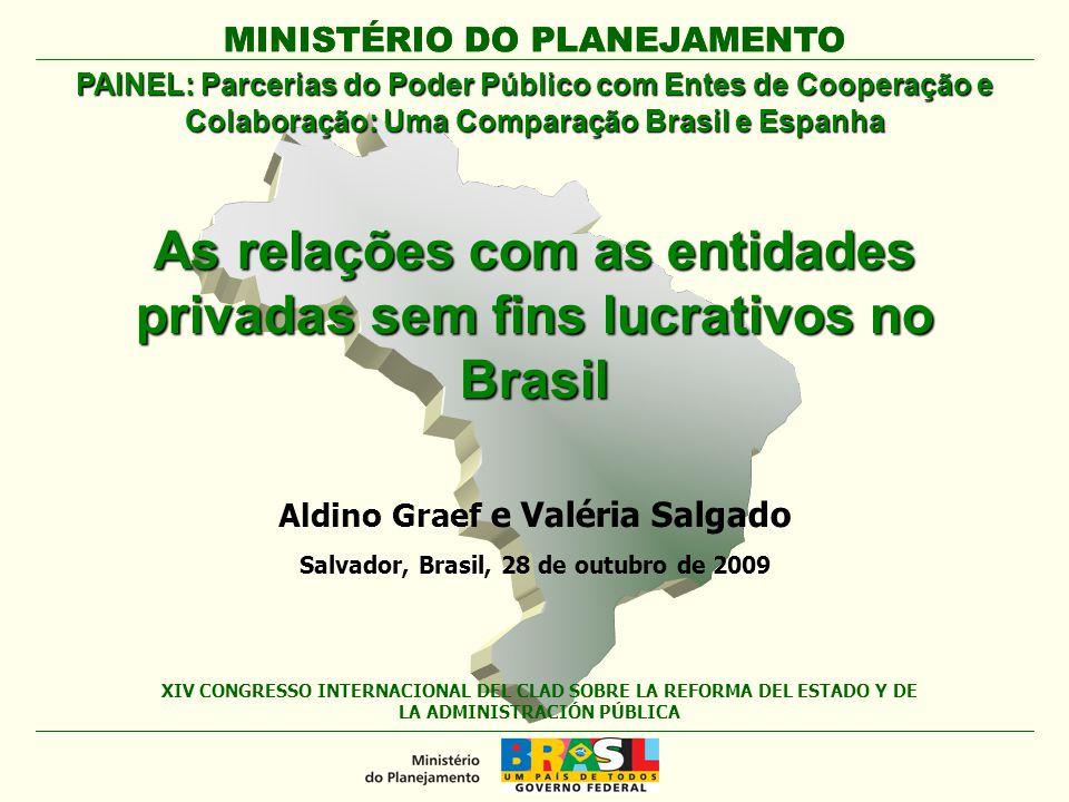 MINISTÉRIO DO PLANEJAMENTO As relações com as entidades privadas sem fins lucrativos no Brasil MINISTÉRIO DO PLANEJAMENTO XIV CONGRESSO INTERNACIONAL
