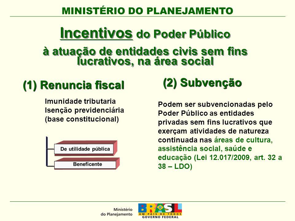 MINISTÉRIO DO PLANEJAMENTO Incentivos do Poder Público à atuação de entidades civis sem fins lucrativos, na área social Incentivos do Poder Público à
