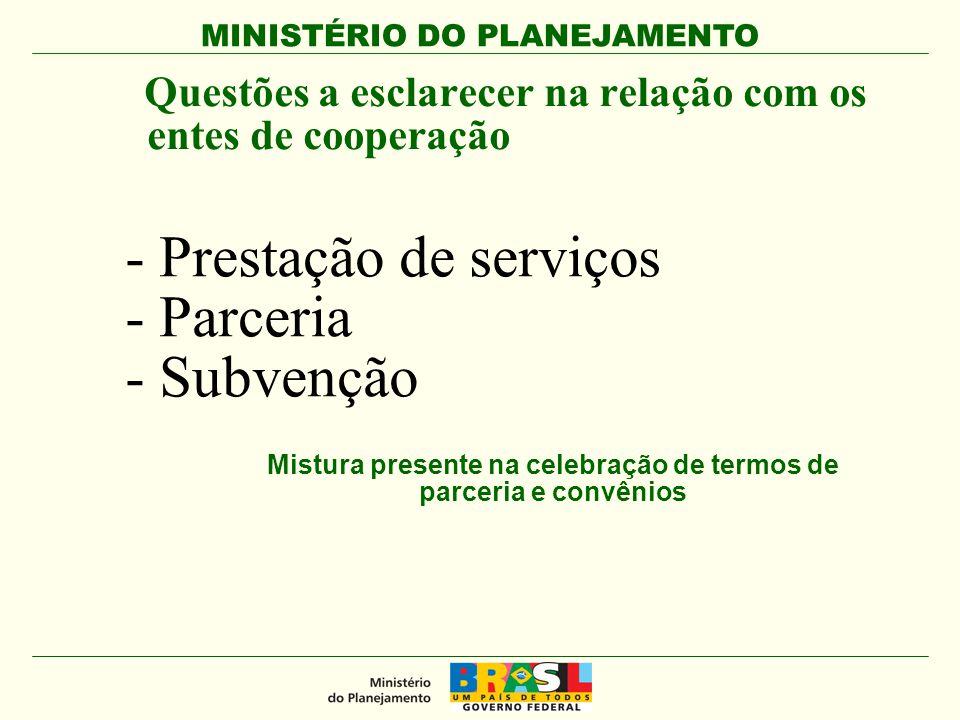 MINISTÉRIO DO PLANEJAMENTO - Prestação de serviços - Parceria - Subvenção Questões a esclarecer na relação com os entes de cooperação Mistura presente