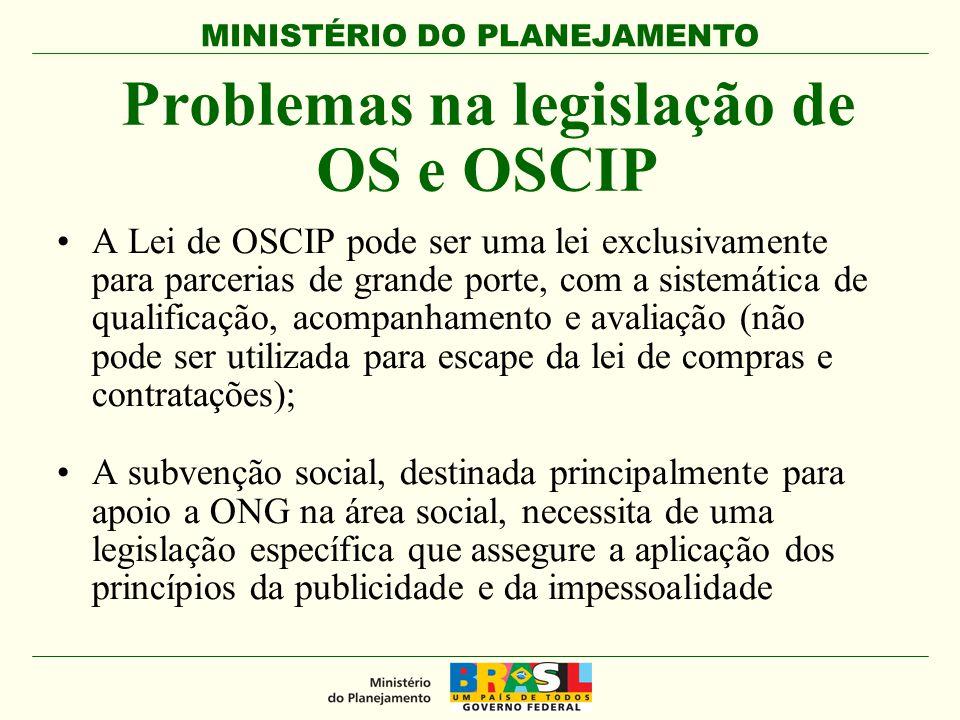 MINISTÉRIO DO PLANEJAMENTO Problemas na legislação de OS e OSCIP A Lei de OSCIP pode ser uma lei exclusivamente para parcerias de grande porte, com a