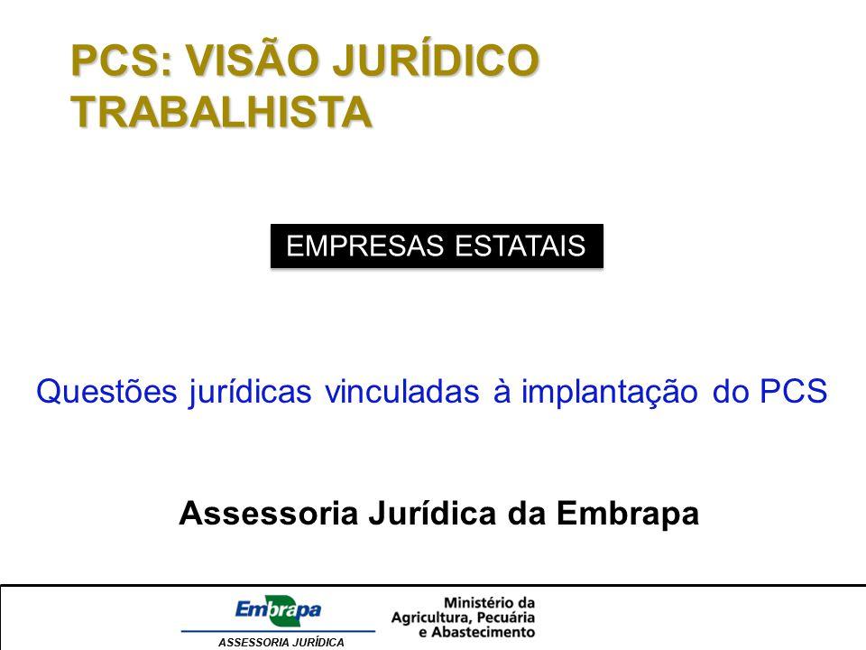 ASSESSORIA JURÍDICA PCS: VISÃO JURÍDICO TRABALHISTA EMPRESAS ESTATAIS Questões jurídicas vinculadas à implantação do PCS Assessoria Jurídica da Embrap