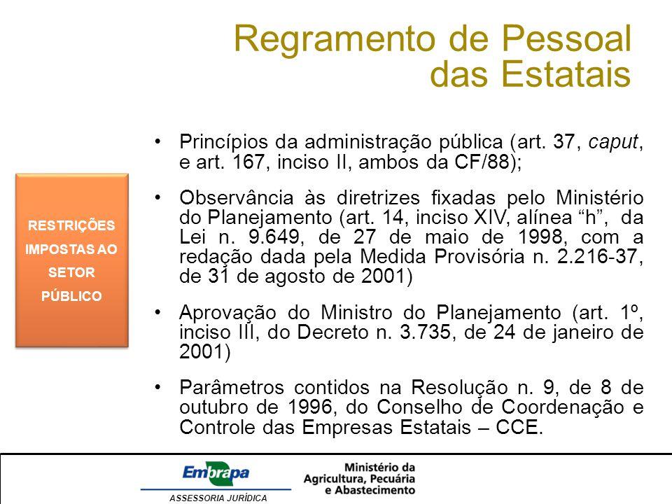 ASSESSORIA JURÍDICA Regramento de Pessoal das Estatais RESTRIÇÕES IMPOSTAS AO SETOR PÚBLICO Princípios da administração pública (art. 37, caput, e art