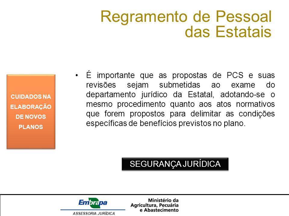 ASSESSORIA JURÍDICA Regramento de Pessoal das Estatais CUIDADOS NA ELABORAÇÃO DE NOVOS PLANOS É importante que as propostas de PCS e suas revisões sej