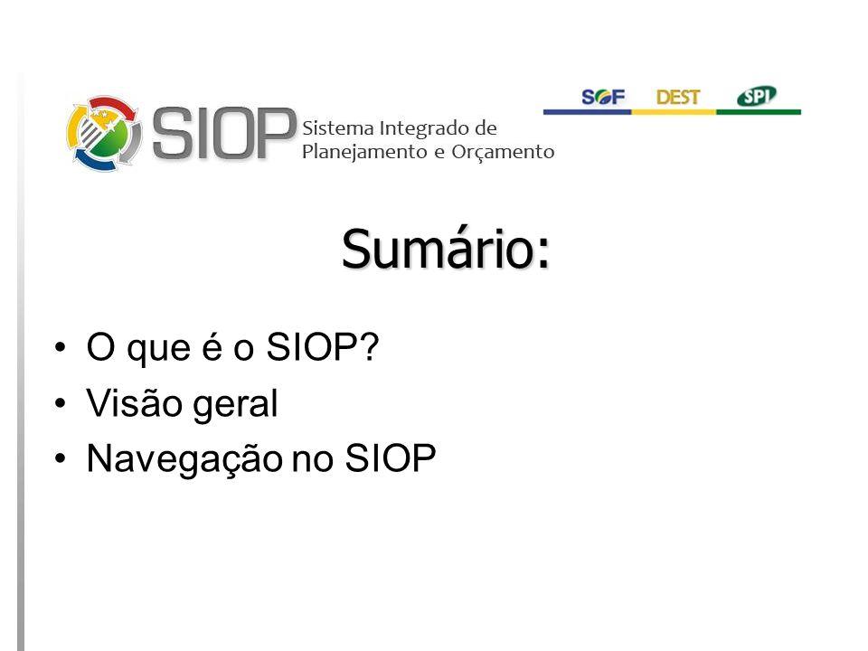 MINISTÉRIO DO PLANEJAMENTO Sumário: O que é o SIOP? Visão geral Navegação no SIOP