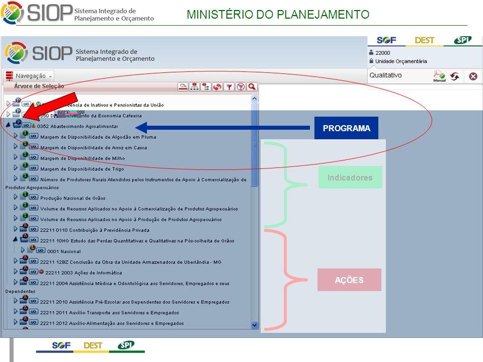 MINISTÉRIO DO PLANEJAMENTO PROGRAMA Indicadores AÇÕES