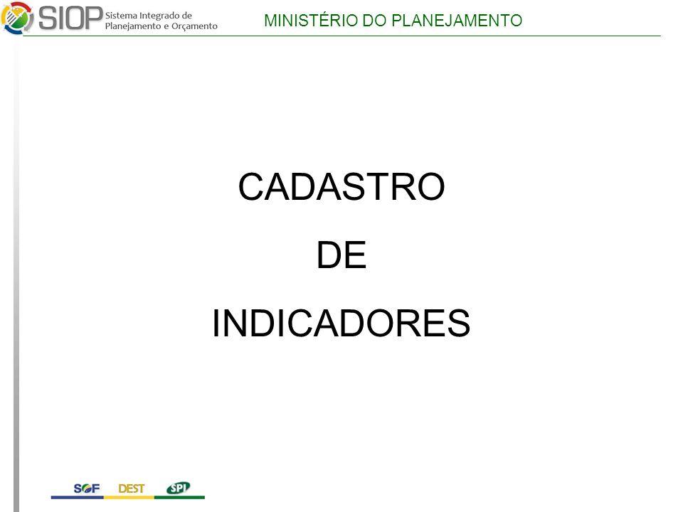 CADASTRO DE INDICADORES