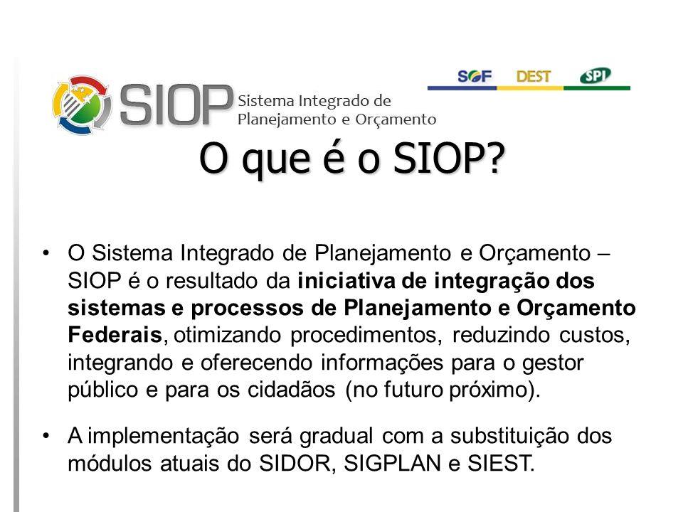 MINISTÉRIO DO PLANEJAMENTO O que é o SIOP.