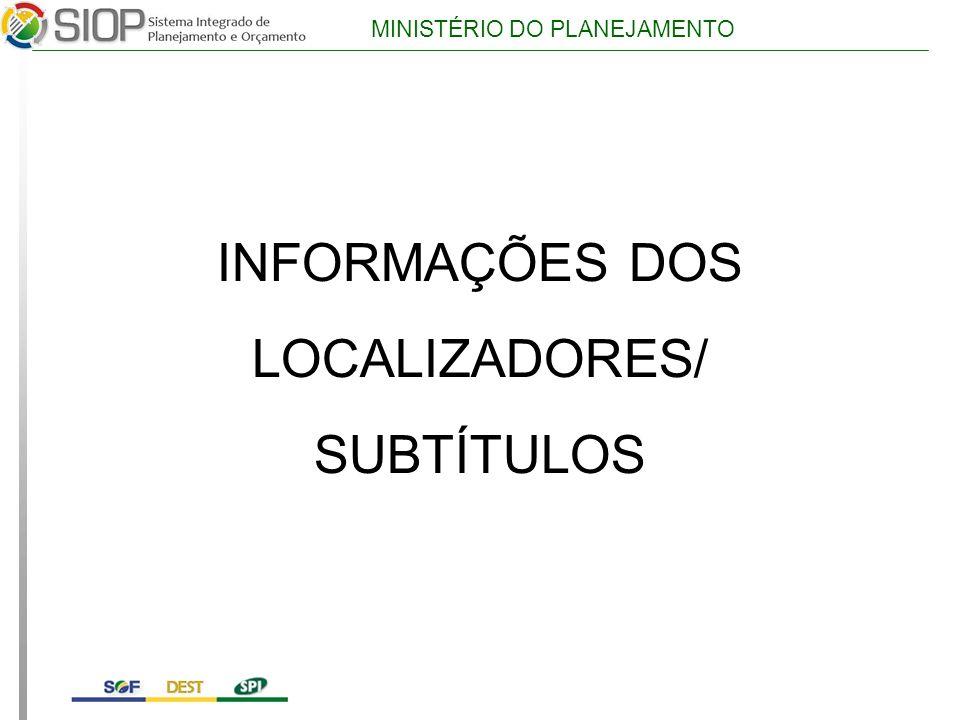INFORMAÇÕES DOS LOCALIZADORES/ SUBTÍTULOS