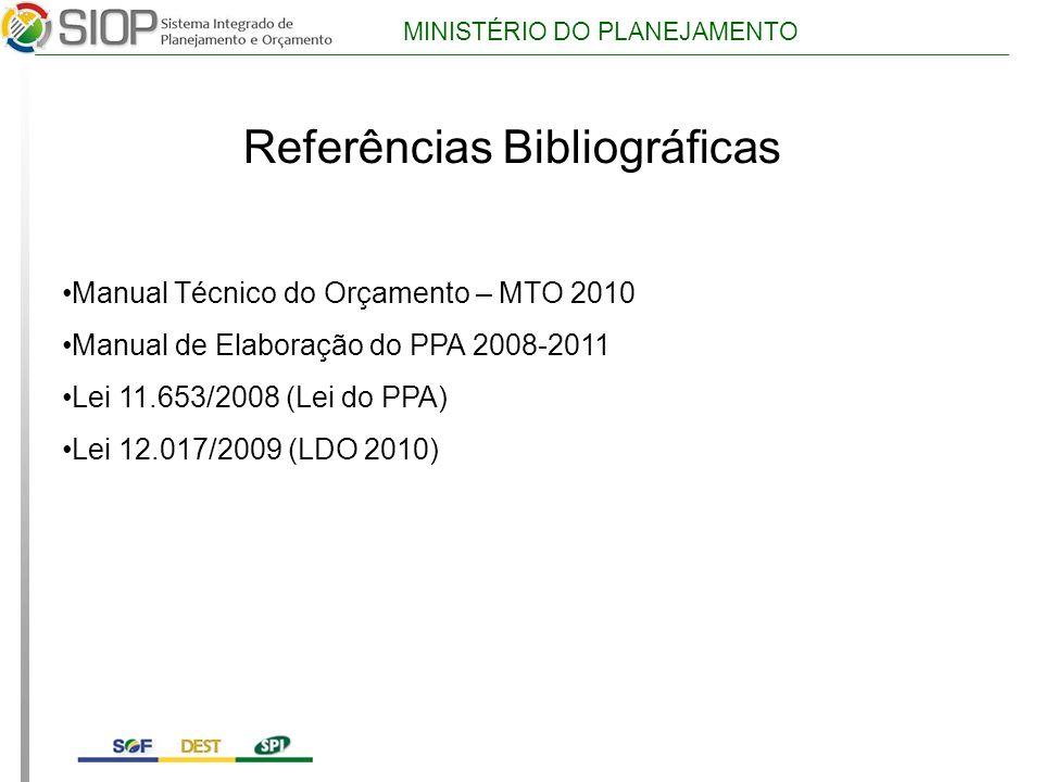 MINISTÉRIO DO PLANEJAMENTO Referências Bibliográficas Manual Técnico do Orçamento – MTO 2010 Manual de Elaboração do PPA 2008-2011 Lei 11.653/2008 (Lei do PPA) Lei 12.017/2009 (LDO 2010)