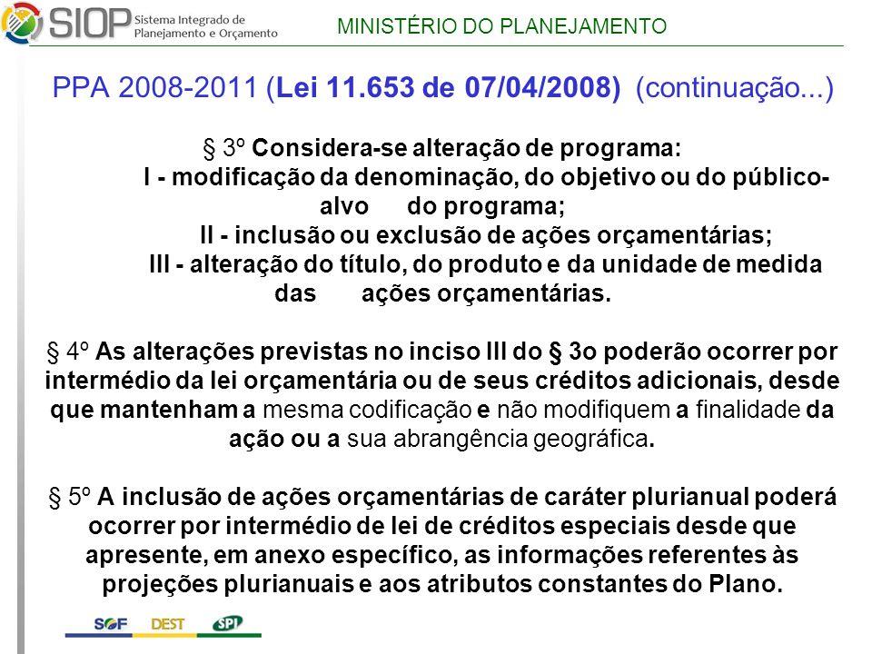 MINISTÉRIO DO PLANEJAMENTO PPA 2008-2011 (Lei 11.653 de 07/04/2008) (continuação...) § 3º Considera-se alteração de programa: I - modificação da denominação, do objetivo ou do público- alvo do programa; II - inclusão ou exclusão de ações orçamentárias; III - alteração do título, do produto e da unidade de medida das ações orçamentárias.
