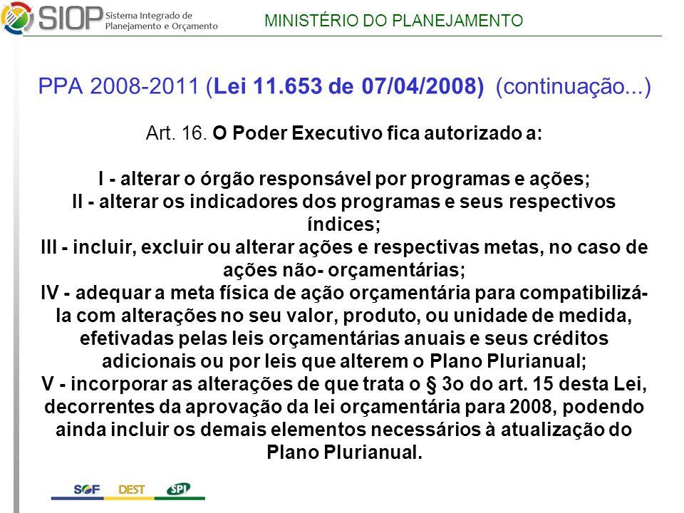 MINISTÉRIO DO PLANEJAMENTO PPA 2008-2011 (Lei 11.653 de 07/04/2008) (continuação...) Art.
