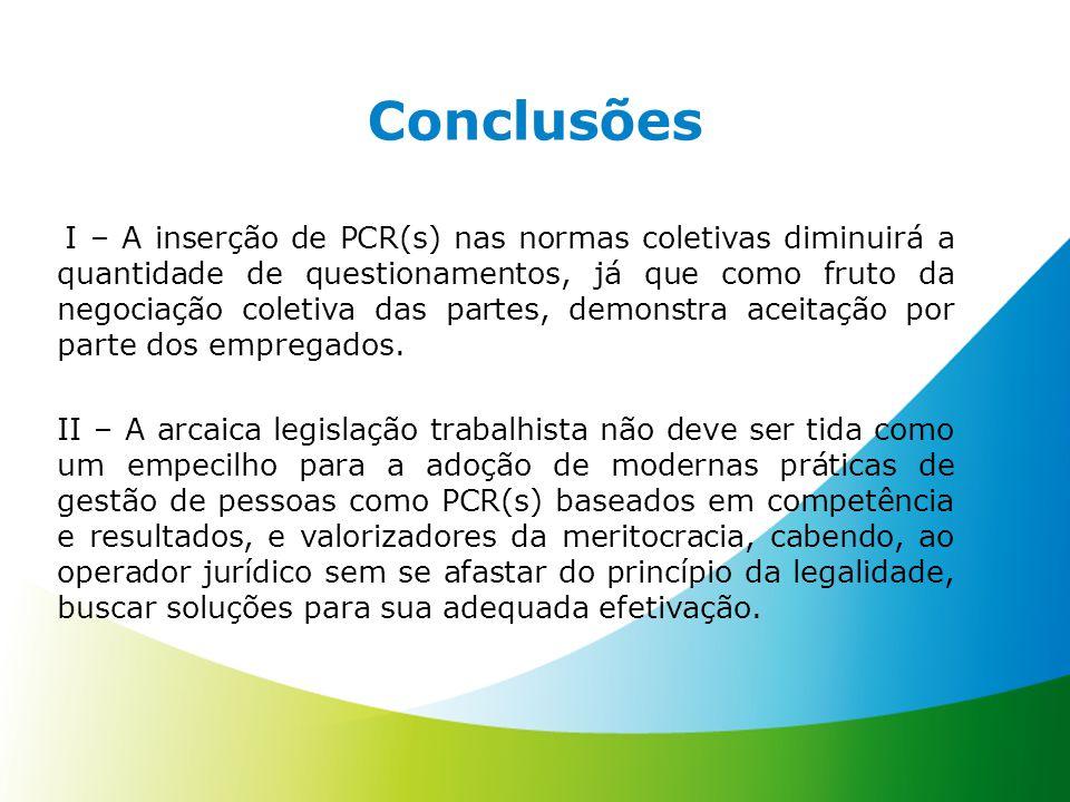 I – A inserção de PCR(s) nas normas coletivas diminuirá a quantidade de questionamentos, já que como fruto da negociação coletiva das partes, demonstr