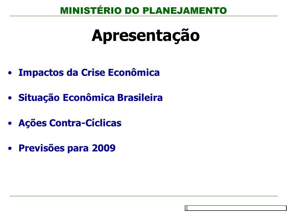 MINISTÉRIO DO PLANEJAMENTO 2 Apresentação Impactos da Crise Econômica Situação Econômica Brasileira Ações Contra-Cíclicas Previsões para 2009