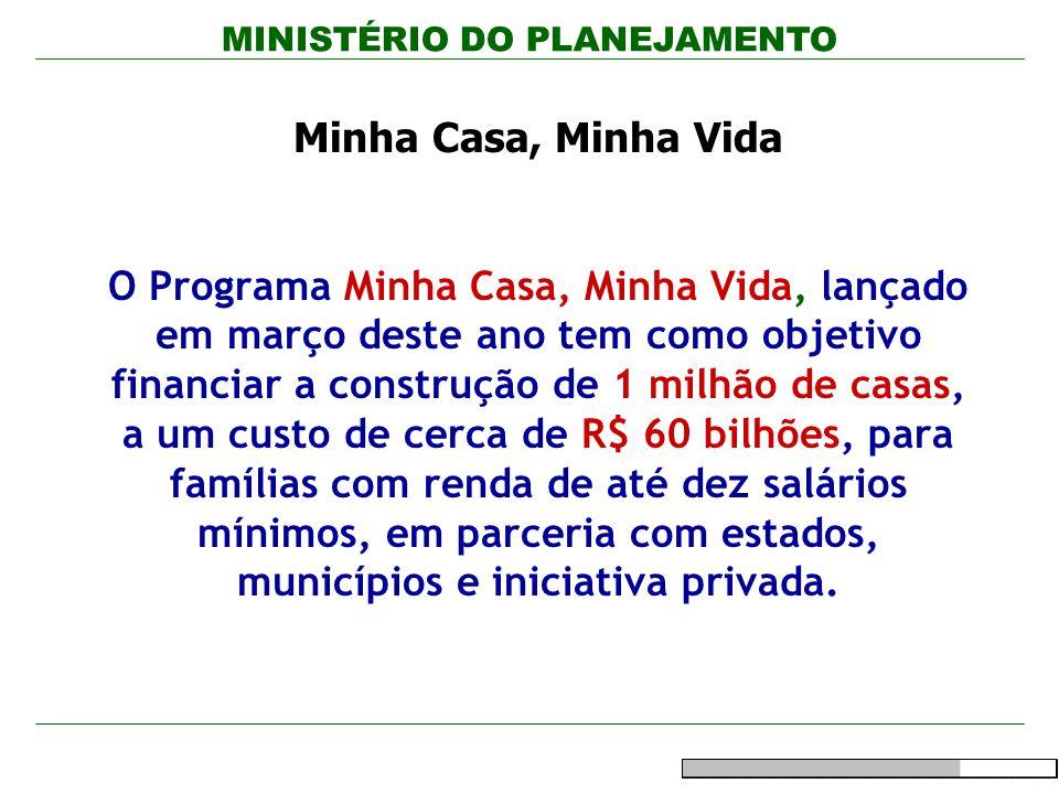 MINISTÉRIO DO PLANEJAMENTO Minha Casa, Minha Vida O Programa Minha Casa, Minha Vida, lançado em março deste ano tem como objetivo financiar a construç