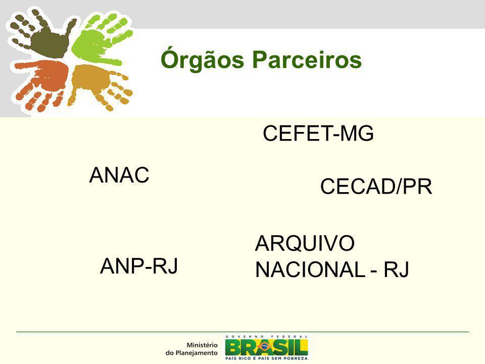 MINISTÉRIO DO PLANEJAMENTO ANAC ANP-RJ ARQUIVO NACIONAL - RJ CEFET-MG CECAD/PR Órgãos Parceiros