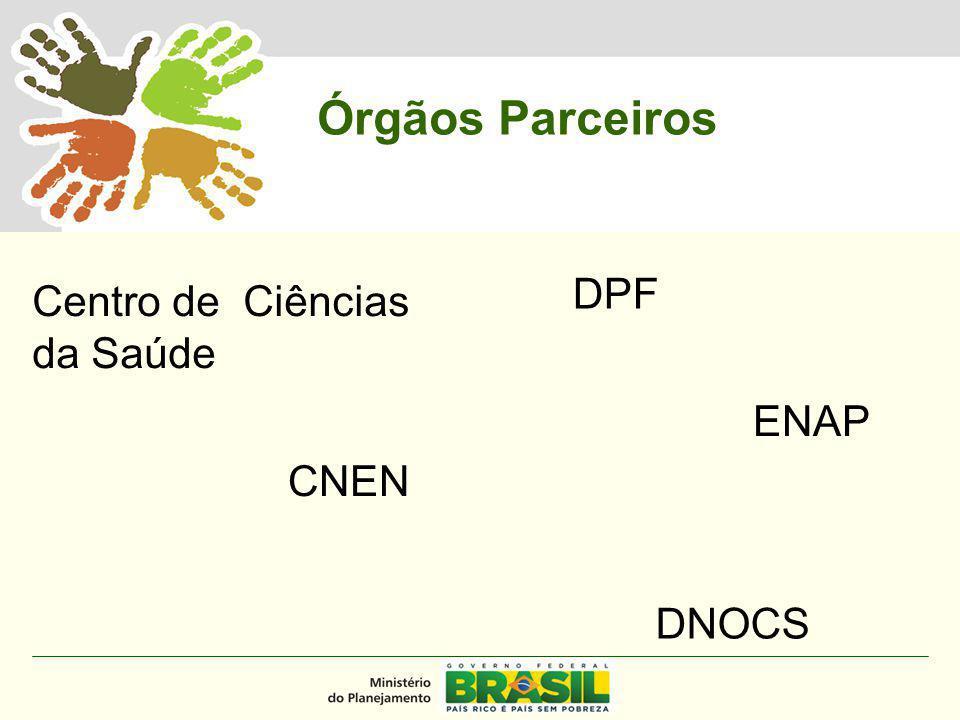 MINISTÉRIO DO PLANEJAMENTO Centro de Ciências da Saúde CNEN DNOCS DPF ENAP Órgãos Parceiros