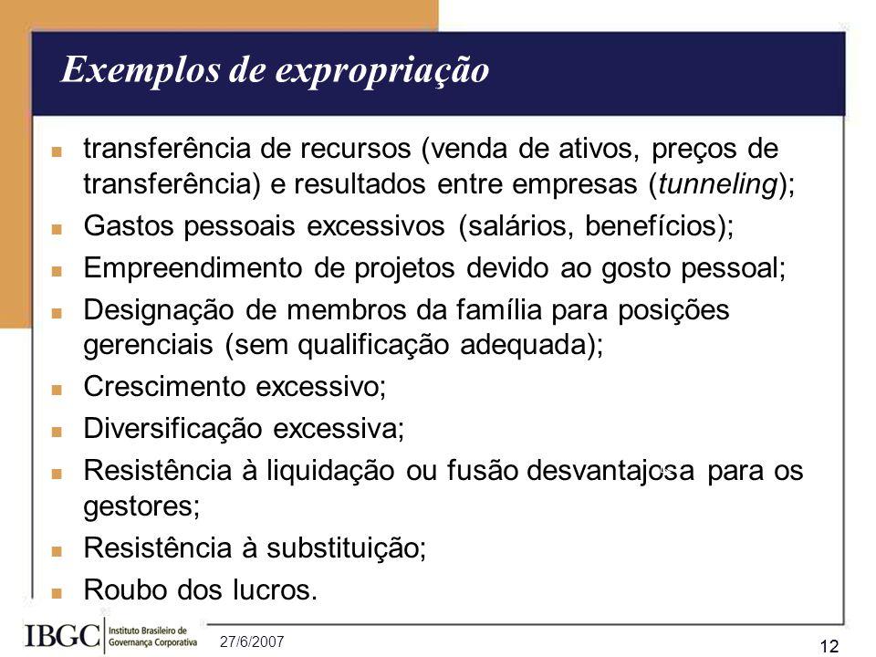 27/6/2007 12 Exemplos de expropriação transferência de recursos (venda de ativos, preços de transferência) e resultados entre empresas (tunneling); tr