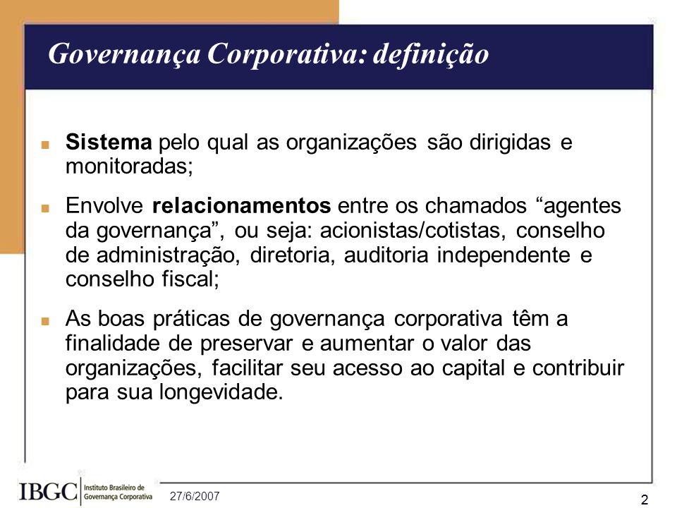 27/6/2007 22 Sistema pelo qual as organizações são dirigidas e monitoradas; Envolve relacionamentos entre os chamados agentes da governança, ou seja: