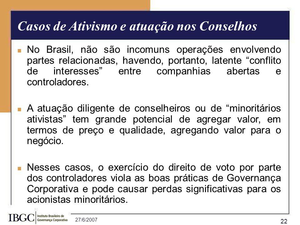 27/6/2007 22 No Brasil, não são incomuns operações envolvendo partes relacionadas, havendo, portanto, latente conflito de interesses entre companhias
