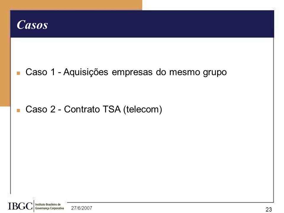 27/6/2007 23 Caso 1 - Aquisições empresas do mesmo grupo Caso 2 - Contrato TSA (telecom) Casos