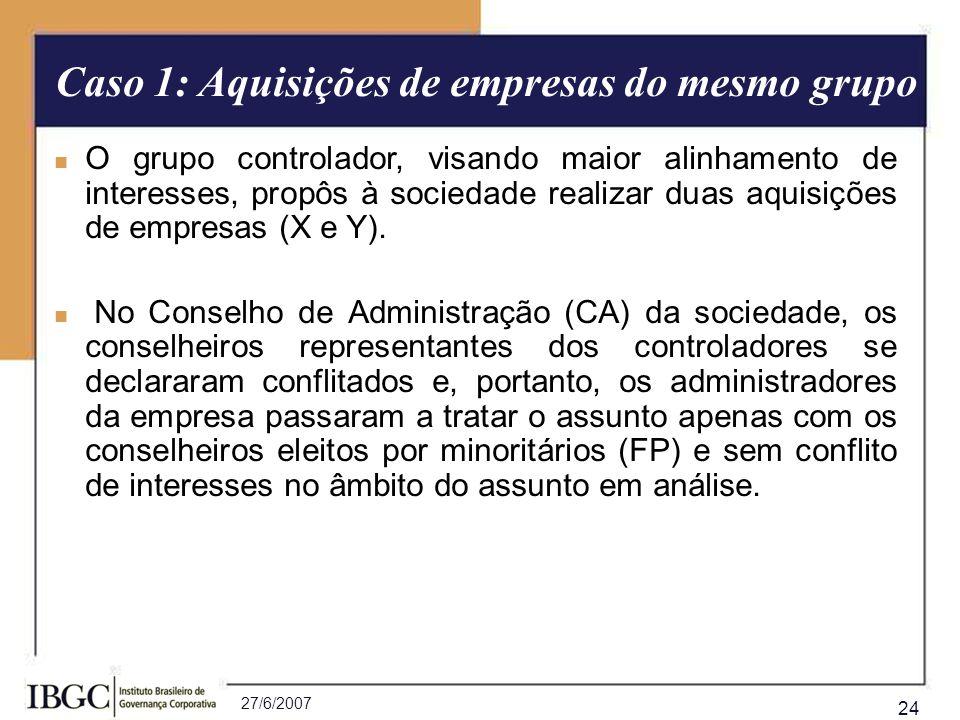 27/6/2007 24 O grupo controlador, visando maior alinhamento de interesses, propôs à sociedade realizar duas aquisições de empresas (X e Y). No Conselh