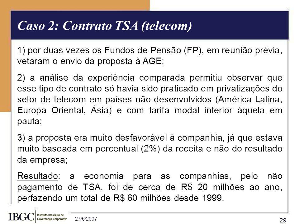 27/6/2007 29 - Resultado Final: 1) por duas vezes os Fundos de Pensão (FP), em reunião prévia, vetaram o envio da proposta à AGE; 2) a análise da expe