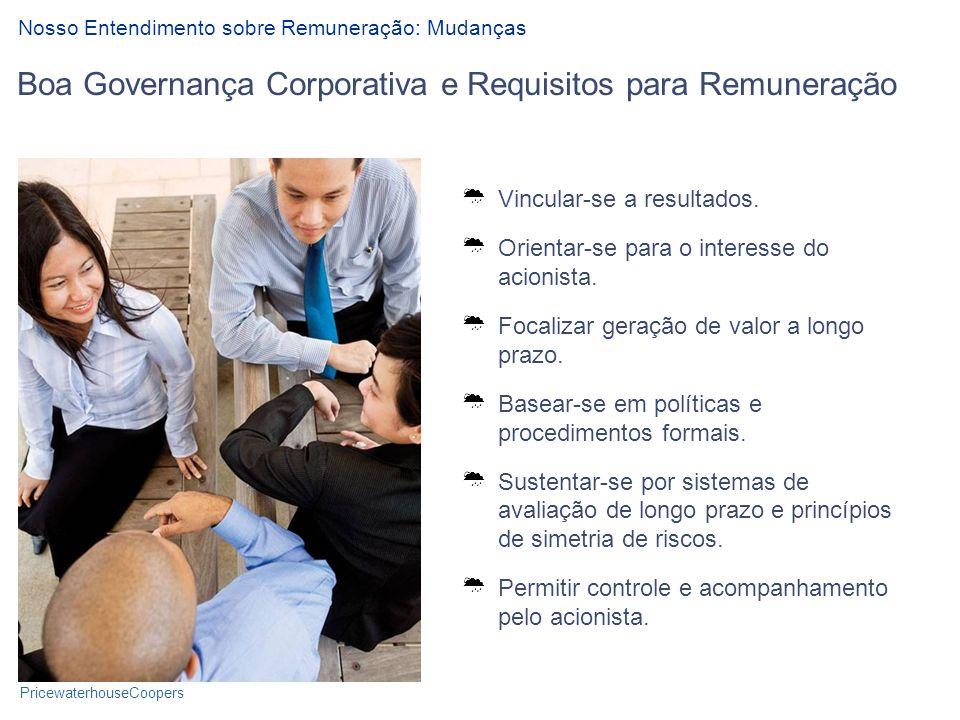 PricewaterhouseCoopers Boa Governança Corporativa e Requisitos para Remuneração Nosso Entendimento sobre Remuneração: Mudanças Vincular-se a resultados.