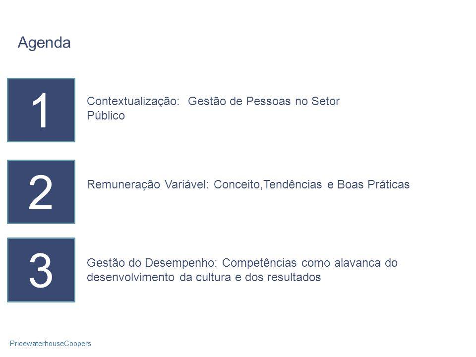 PricewaterhouseCoopers Agenda 1 Contextualização: Gestão de Pessoas no Setor Público 2 3 Remuneração Variável: Conceito,Tendências e Boas Práticas Gestão do Desempenho: Competências como alavanca do desenvolvimento da cultura e dos resultados