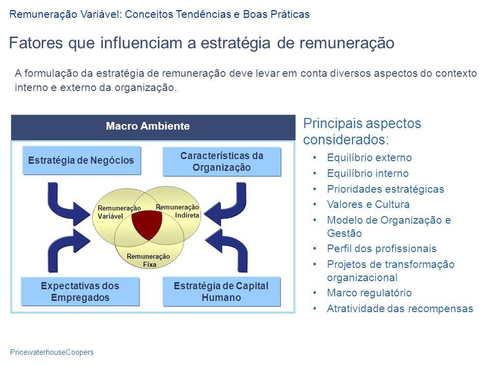 PricewaterhouseCoopers A formulação da estratégia de remuneração deve levar em conta diversos aspectos do contexto interno e externo da organização.