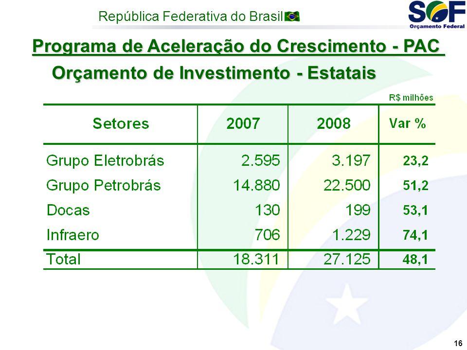 República Federativa do Brasil 16 Programa de Aceleração do Crescimento - PAC Orçamento de Investimento - Estatais