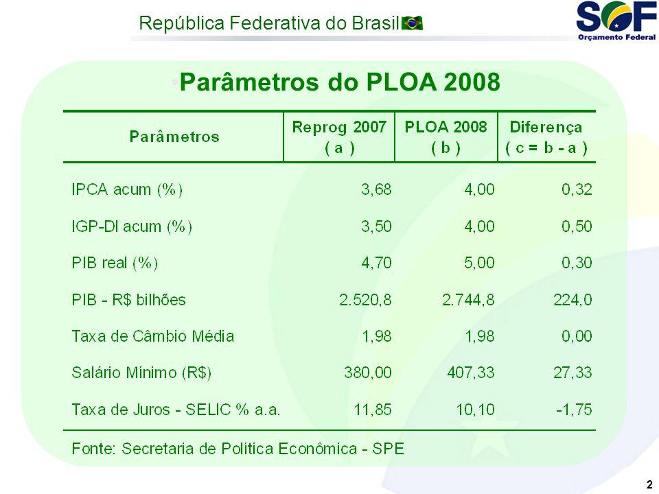 República Federativa do Brasil 2 Parâmetros do PLOA 2008