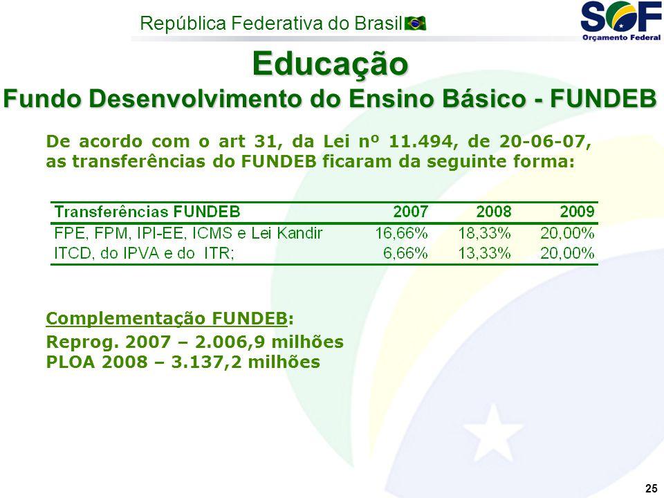 República Federativa do Brasil 25 Educação Fundo Desenvolvimento do Ensino Básico - FUNDEB De acordo com o art 31, da Lei nº 11.494, de 20-06-07, as transferências do FUNDEB ficaram da seguinte forma: Complementação FUNDEB: Reprog.