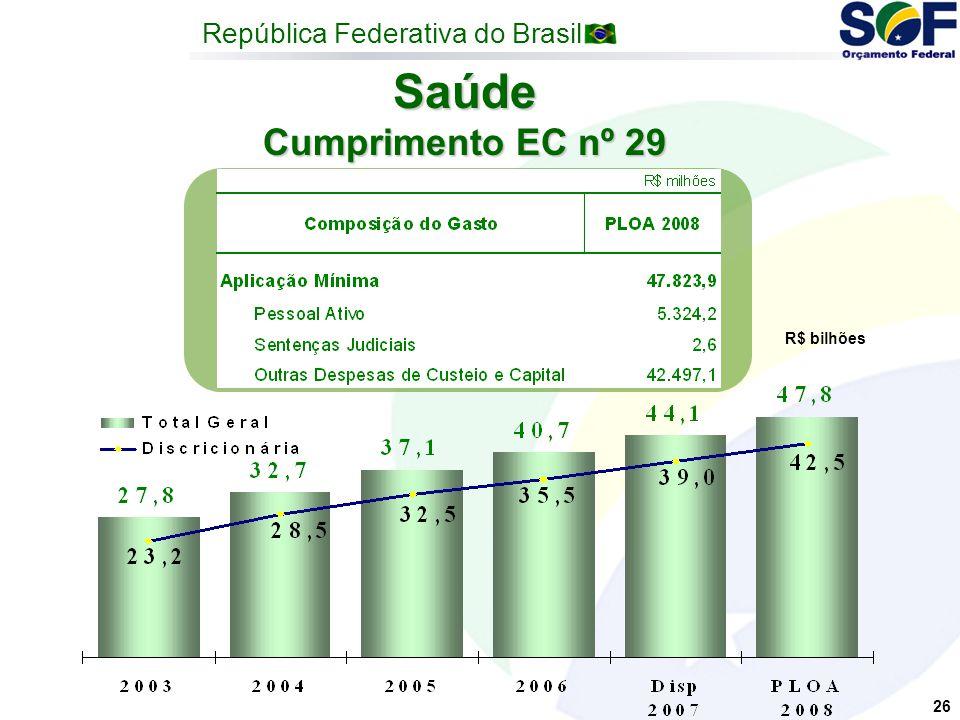 República Federativa do Brasil 26 Saúde Cumprimento EC nº 29 R$ bilhões