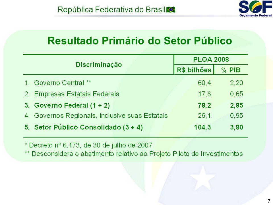 República Federativa do Brasil 7 Resultado Primário do Setor Público
