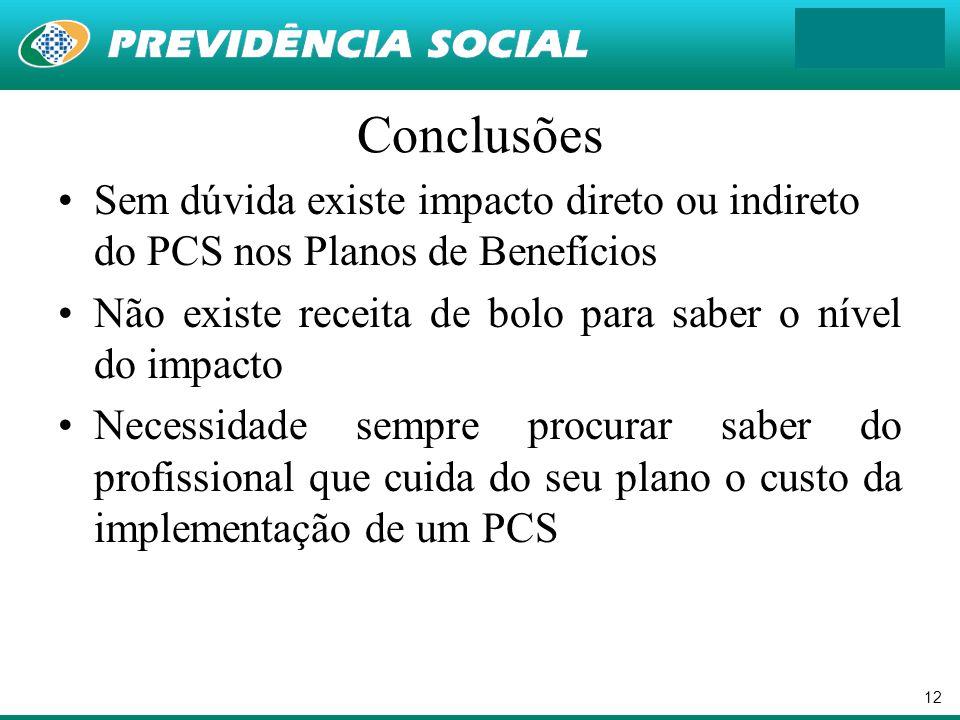 12 Conclusões Sem dúvida existe impacto direto ou indireto do PCS nos Planos de Benefícios Não existe receita de bolo para saber o nível do impacto Ne