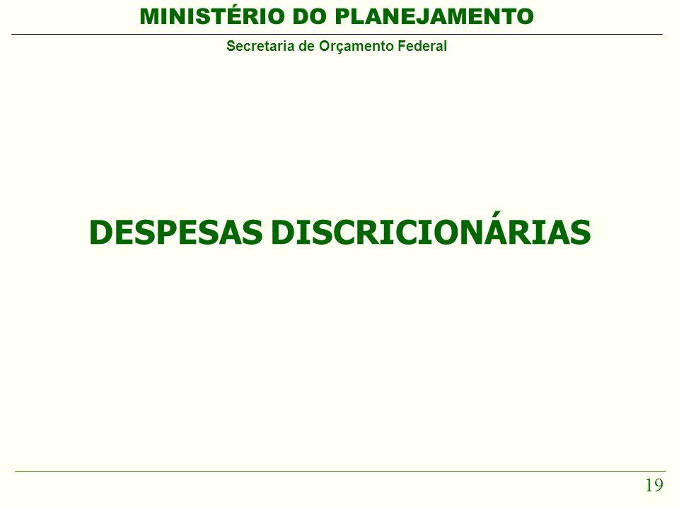 MINISTÉRIO DO PLANEJAMENTO Secretaria de Orçamento Federal 19 DESPESAS DISCRICIONÁRIAS