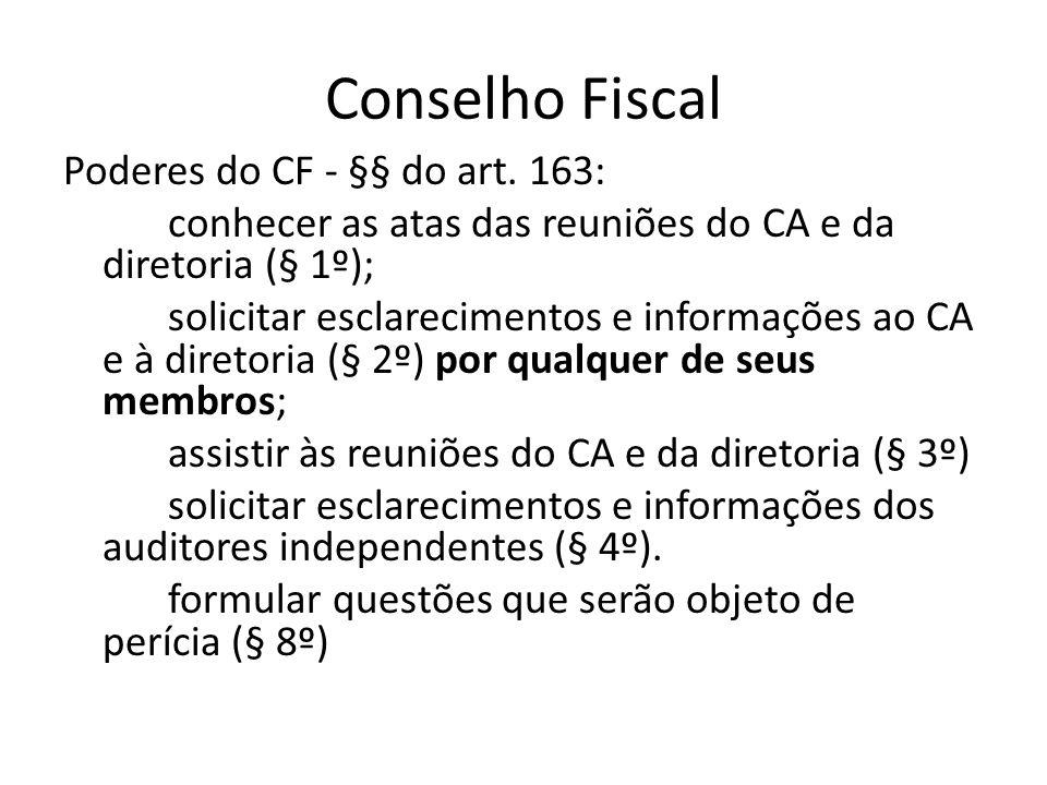 Conselho Fiscal Poderes do CF - §§ do art. 163: conhecer as atas das reuniões do CA e da diretoria (§ 1º); solicitar esclarecimentos e informações ao