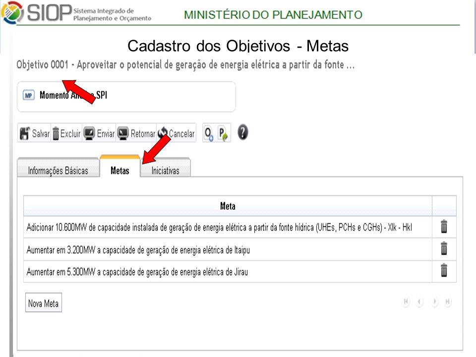 MINISTÉRIO DO PLANEJAMENTO Árvore com Programas 17 Cadastro dos Objetivos - Metas