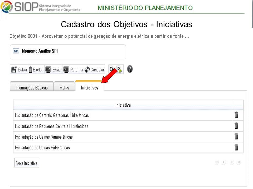 MINISTÉRIO DO PLANEJAMENTO Árvore com Programas 19 Cadastro dos Objetivos - Iniciativas