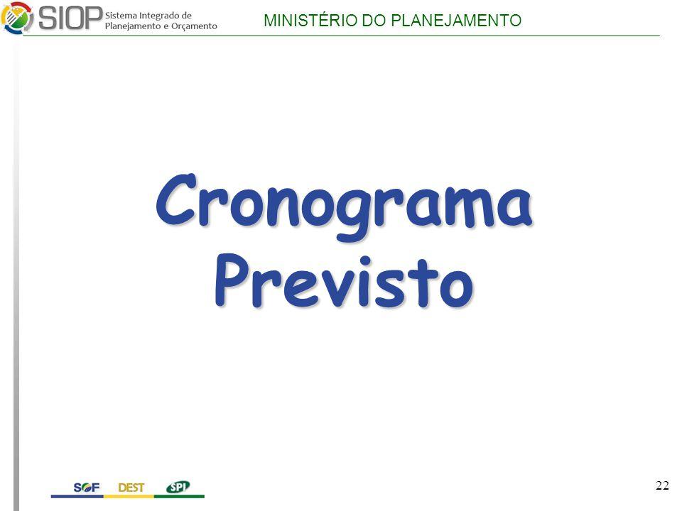 MINISTÉRIO DO PLANEJAMENTO Cronograma Previsto 22