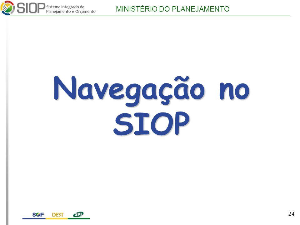 MINISTÉRIO DO PLANEJAMENTO Navegação no SIOP 24