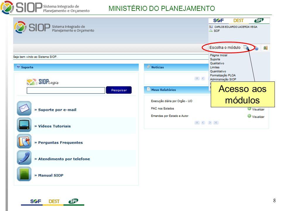 MINISTÉRIO DO PLANEJAMENTO 8 Acesso aos módulos